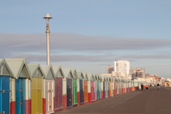 lamp post and beach huts, brighton seafront