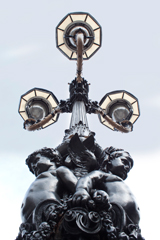 three bracket lamp post refurbished by metcraft lighting, the strand at trafalgar square, london