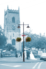 metcraft lamp post and wedding outside church, yorkshire