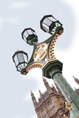 three bracket lamp post, westminster bridge, london. Refurbished by Metcraft